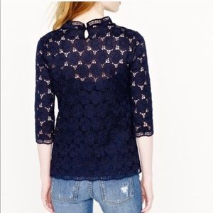 J. Crew Collection navy luster lace mock neck top